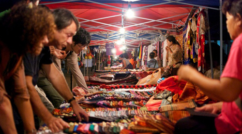 Hmong textiles at Luang Prabang's night market.
