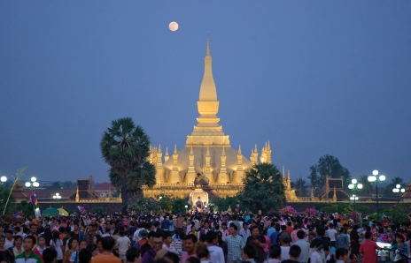 Thousands attend That Laung festival in Vientiane, Laos